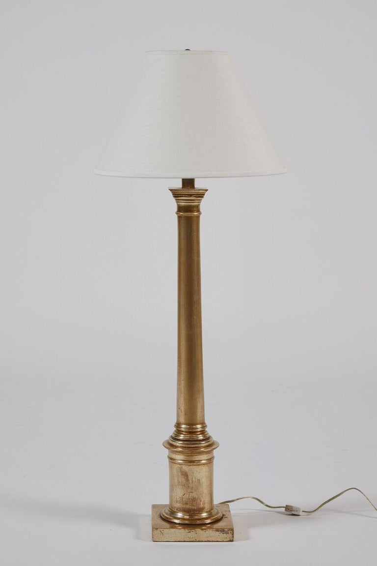 Pair of Giltwood Lamps, 18 Karat White Gold For Sale 1