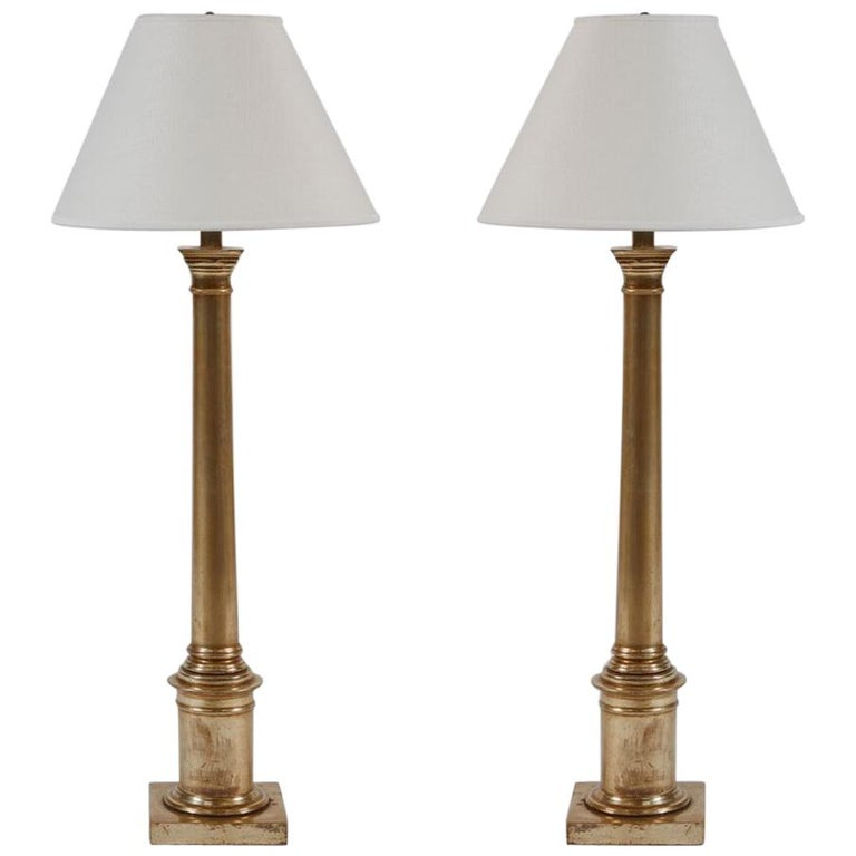 Pair of Giltwood Lamps, 18 Karat White Gold For Sale