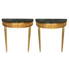 Pair of Giltwood Louis XV Style Marble Top Demilune Consoles