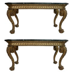 Pair of Giltwood Marble-Top Console Tables in the Manner of William Kent