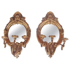 Pair of Giltwood Mirrored Girandoles