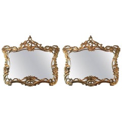 Pair of Giltwood Mirrors Decorated with Leaves and Scrolls, 20th Century