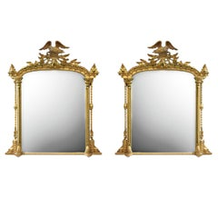 Pair of Giltwood Mirrors with Eagle Crestings