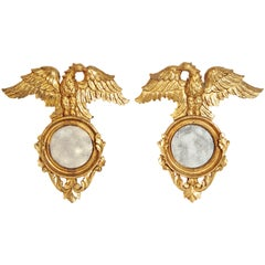 Pair of Giltwood Mirrors with Eagles, Wings Outstretched