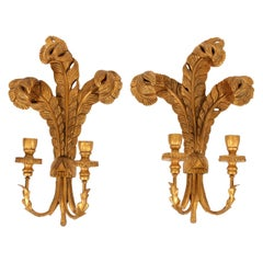 "Pair of Giltwood ""Prince of Wales"" Candle Sconces"