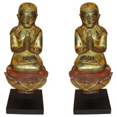 Pair of Giltwood Quan Yin on Stand