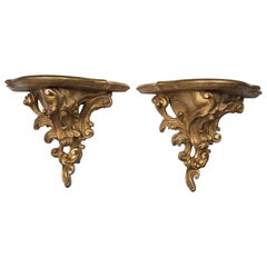 Pair of Giltwood Rococco Style Wall Brackets