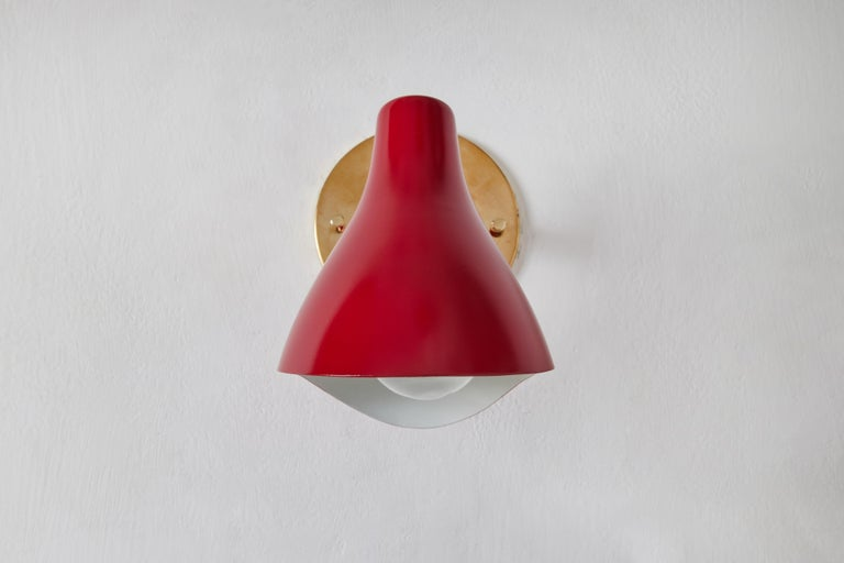 Brass Pair of Gino Sarfatti Model #10 Sconces in Red for Arteluce For Sale