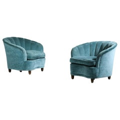 Pair of Gio Ponti Armchair Italian Design 1960s Velvet Vintage Designer