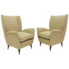 Pair of Gio Ponti Armchairs, Model 512, Italy, New Upholstery