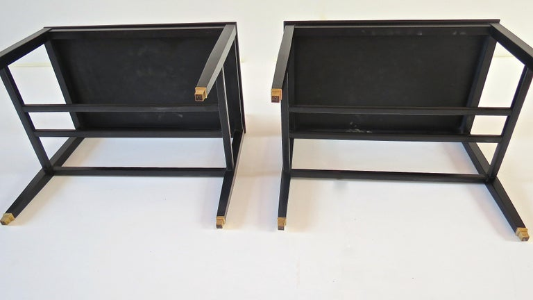 Pair of Gio Ponti Black Walnut Lacquered Side Tables from Hotel Royal Naples For Sale 12