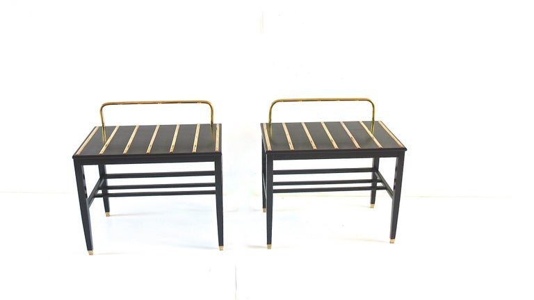Pair of luggage-racks, side tables designed by Gio Ponti and executed by Giordano Chiesa for the Hotel Royal, Naples, 1955 in 2005 arch. Cristina Longo used original items from Hotel Royal in Naples and she has made 10 limited editon pair of stands