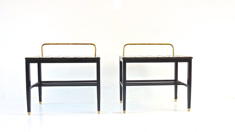 Mid-Century Modern Pair of Gio Ponti Black Walnut Lacquered Side Tables from Hotel Royal Naples For Sale