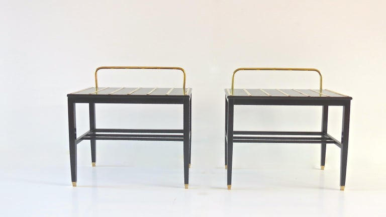 Italian Pair of Gio Ponti Black Walnut Lacquered Side Tables from Hotel Royal Naples For Sale
