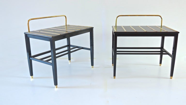 Pair of Gio Ponti Black Walnut Lacquered Side Tables from Hotel Royal Naples In Good Condition For Sale In Rome, IT