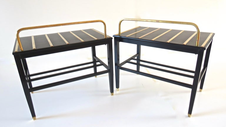 Mid-20th Century Pair of Gio Ponti Black Walnut Lacquered Side Tables from Hotel Royal Naples For Sale
