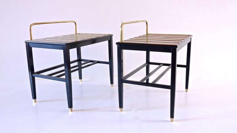 Brass Pair of Gio Ponti Black Walnut Lacquered Side Tables from Hotel Royal Naples For Sale