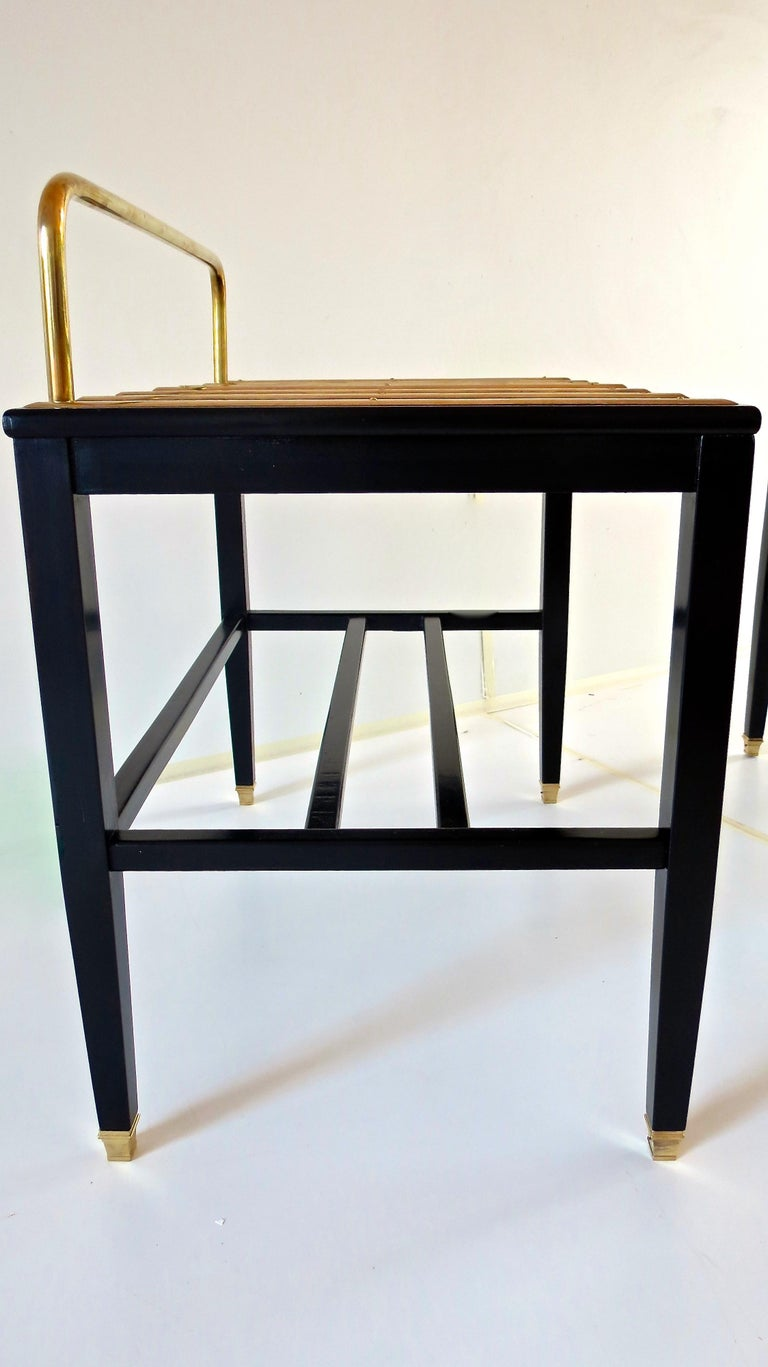 Pair of Gio Ponti Black Walnut Lacquered Side Tables from Hotel Royal Naples For Sale 1