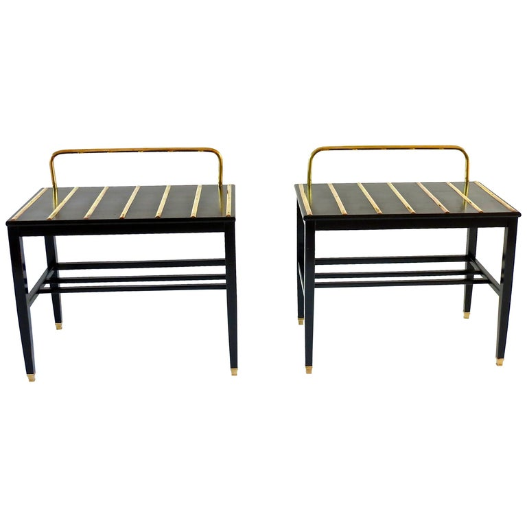 Pair of Gio Ponti Black Walnut Lacquered Side Tables from Hotel Royal Naples For Sale