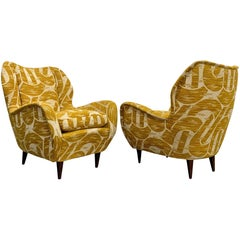 Pair of Gio Ponti Mid-Century Modern Italian Armchairs for ISA Bergamo