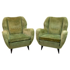 Pair of Gio Ponti Mid-Century Modern Italian Linen Velvet Armchairs for ISA