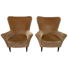 Pair of Gio Ponti Mid-Century Modern Italian Velvet Small Armchairs for ISA
