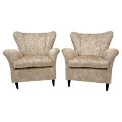 Pair of Gio Ponti Mid-Century Modern Italian Vintage Velvet Armchairs for ISA