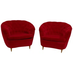 """Pair of Gio Ponti Midcentury Italian Curved Armchairs """"Casa E Giardino"""", 1940s"""