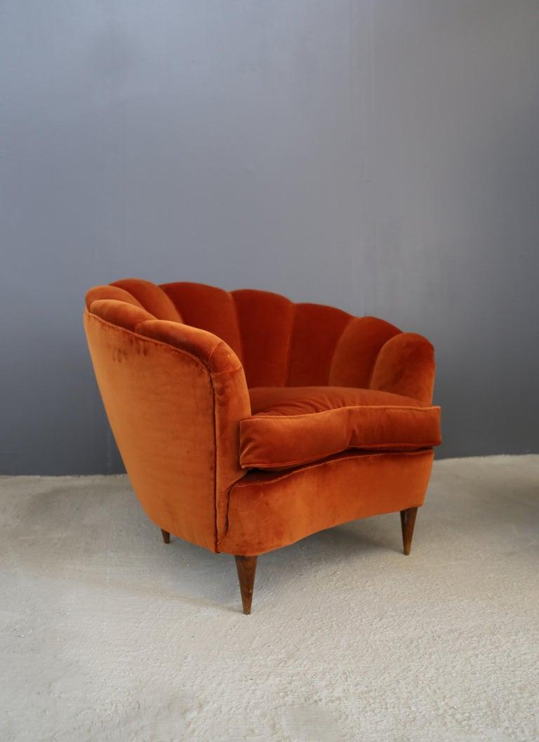 Art Deco Pair of Gio Ponti shell armchairs italian, 1940 For Sale