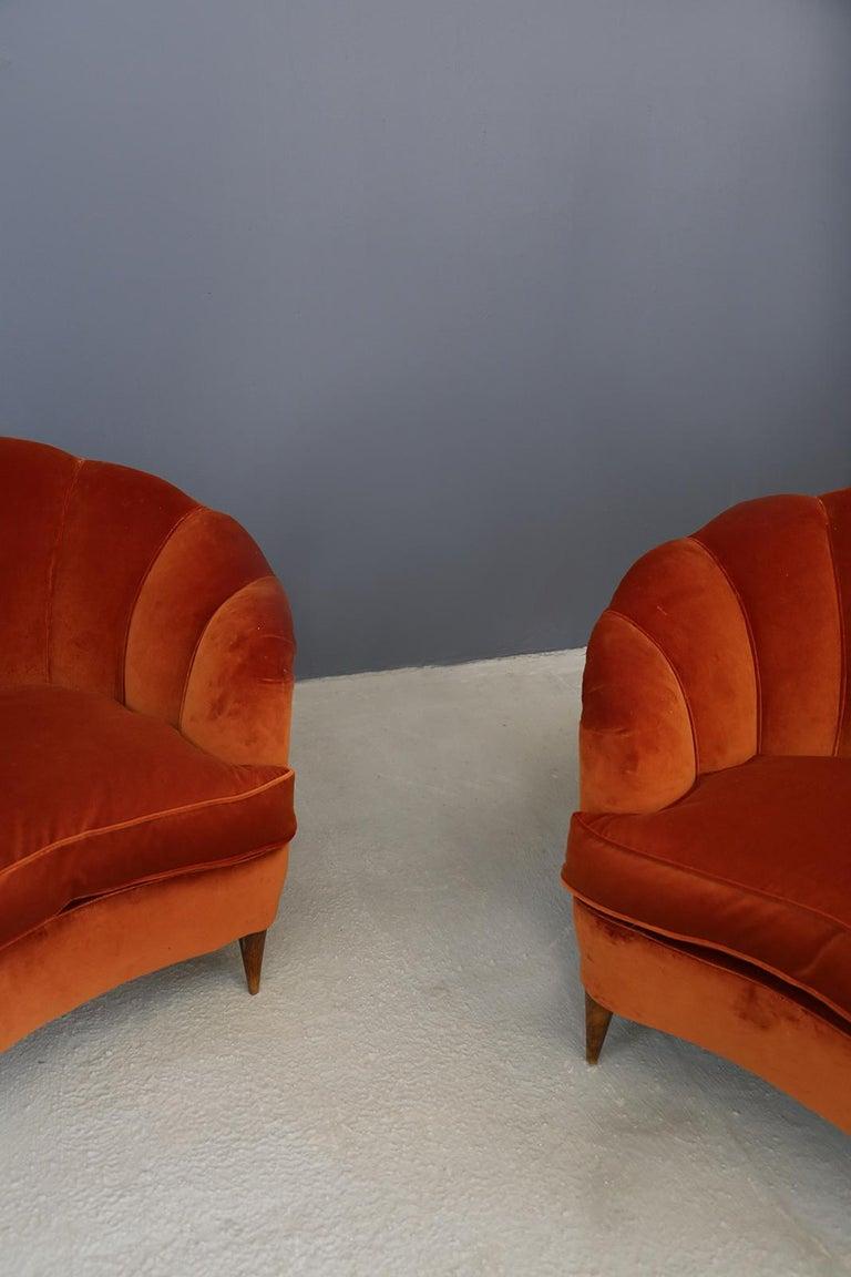 Italian Pair of Gio Ponti shell armchairs italian, 1940 For Sale