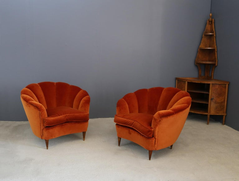 Pair of Gio Ponti shell armchairs italian, 1940 In Good Condition For Sale In Milano, IT