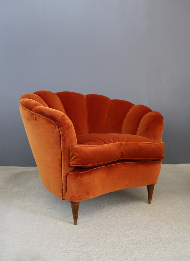 Velvet Pair of Gio Ponti shell armchairs italian, 1940 For Sale