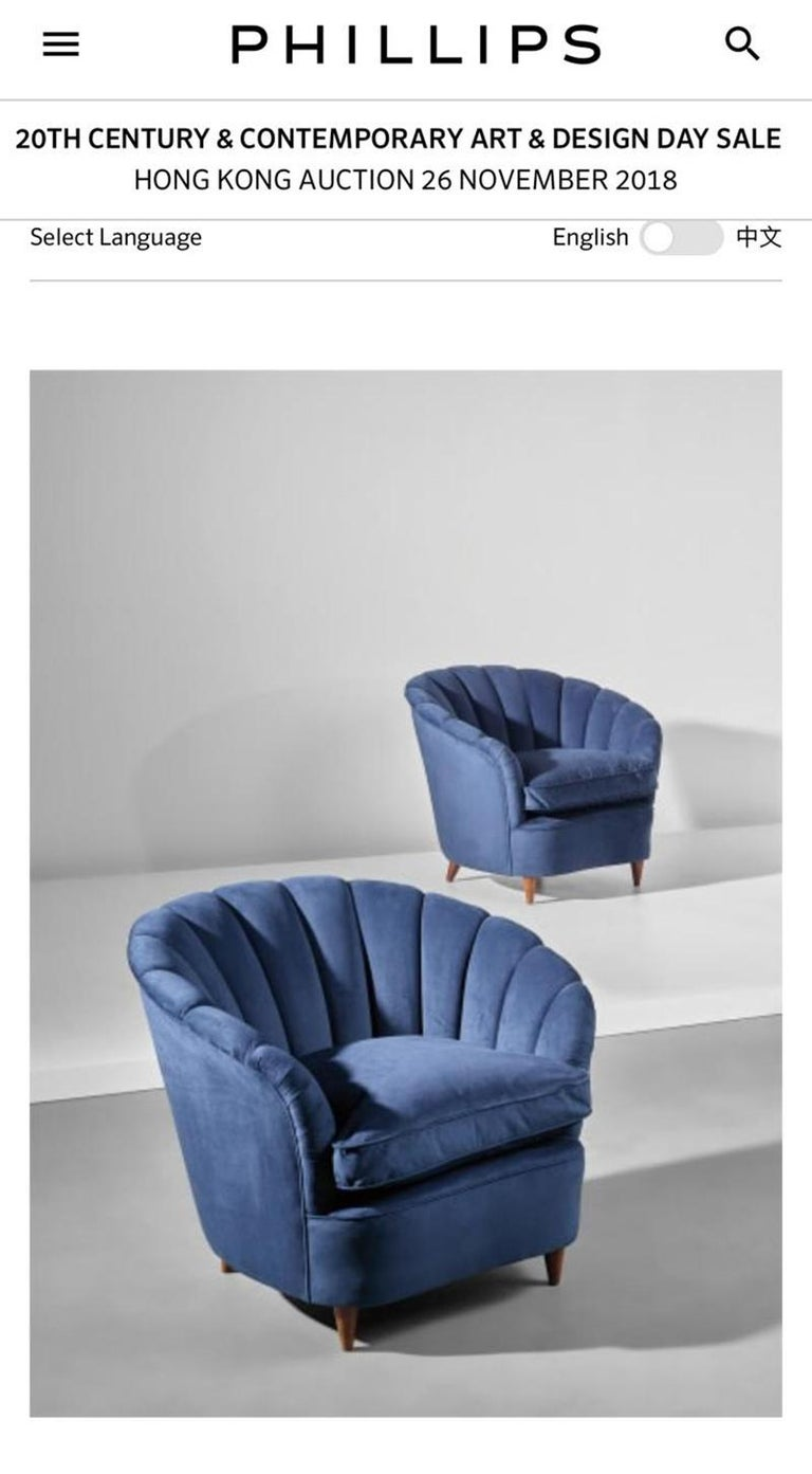 Pair of Gio Ponti shell armchairs italian, 1940 For Sale 1