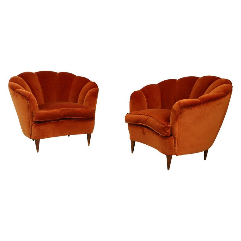 Pair of Gio Ponti shell armchairs italian, 1940 For Sale