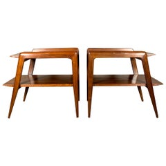 Pair of Gio Ponti Side Tables in Walnut