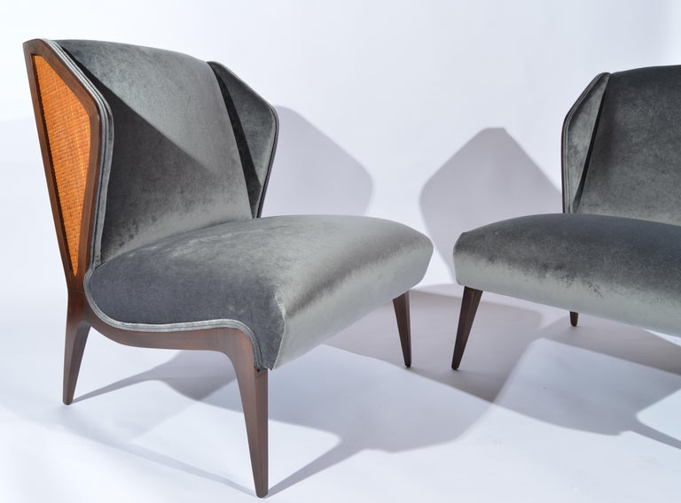 Mid-Century Modern Gio Ponti style Cane Embellished Wingback Easy Chairs in Walnut, circa 1955 For Sale