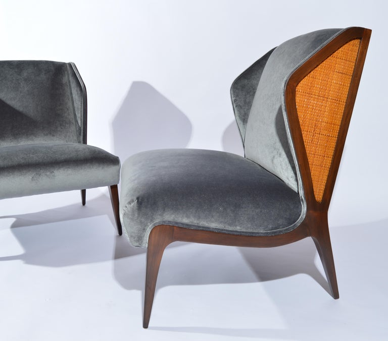 Mid-20th Century Gio Ponti style Cane Embellished Wingback Easy Chairs in Walnut, circa 1955 For Sale