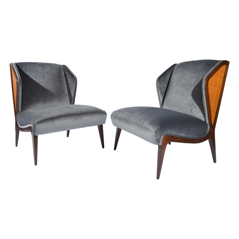 Gio Ponti style Cane Embellished Wingback Easy Chairs in Walnut, circa 1955 For Sale