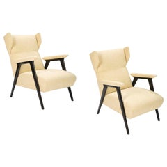 Pair of Gio Ponti Style Italian Beechwood Wing Chairs