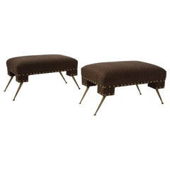Pair of Gio Ponti-Style Italian Ottomans with Brown-Black Cashmere Tops