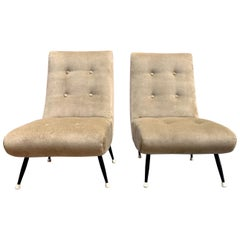 Pair of Gio Ponti Style Italian Tufted Chairs in Taupe Velvet