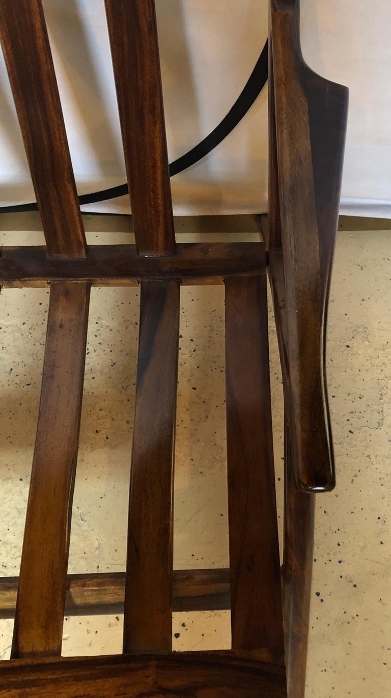 Pair of Gio Ponti Style Mid-Century Modern Rosewood / Walnut Armchairs For Sale 7