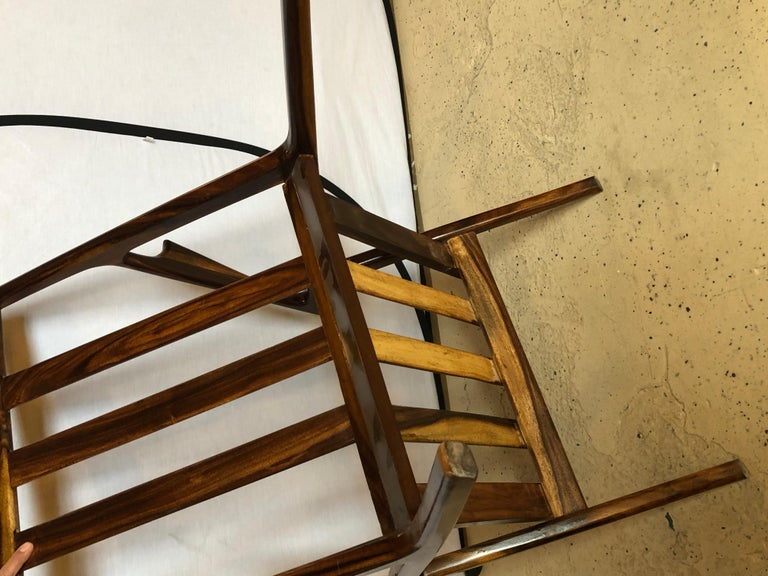 Pair of Gio Ponti Style Mid-Century Modern Rosewood / Walnut Armchairs For Sale 10