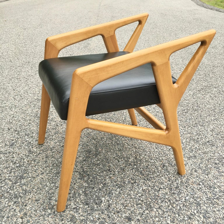 Faux Leather Pair of Gio Ponti Style Stools For Sale