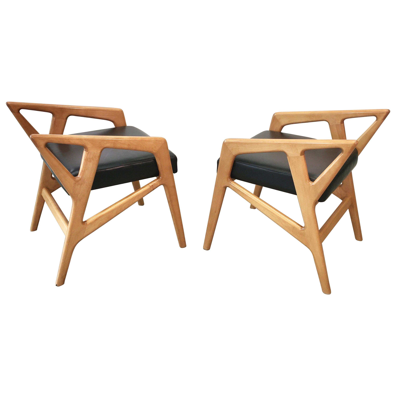 Pair of Gio Ponti Style Stools