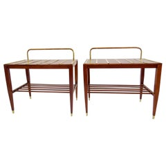 Pair of Gio Ponti Walnut Side Tables, Luggage Racks for Hotel Royal Naples, 1953