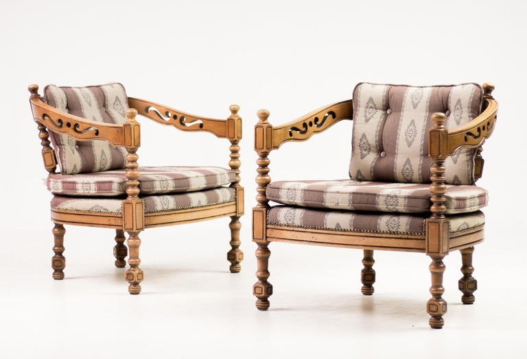 Art Deco Pair of Giorgetti Armchairs For Sale