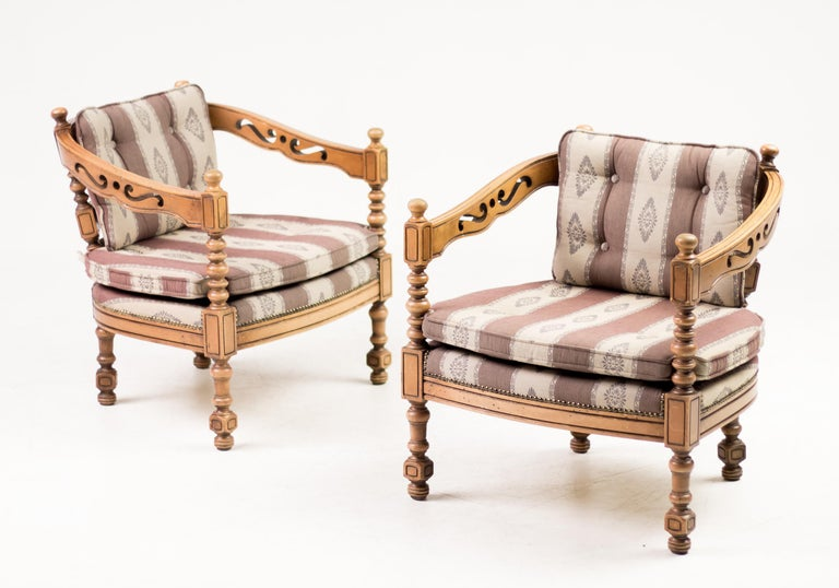 Italian Pair of Giorgetti Armchairs For Sale