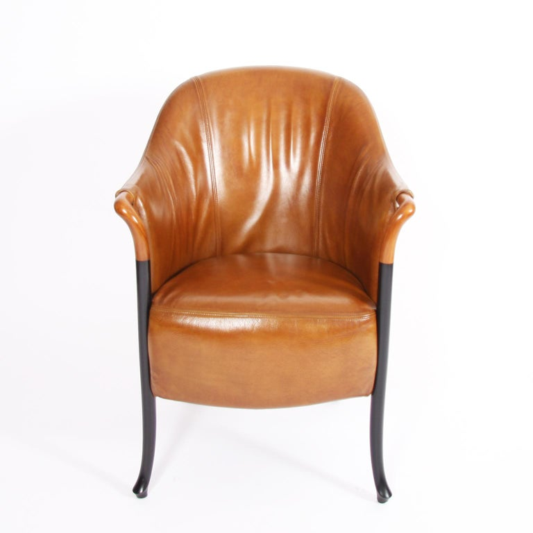 Italian Pair of Giorgetti Tan Leather Armchairs For Sale