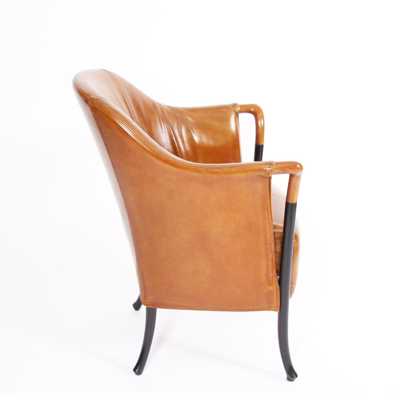 Pair of Giorgetti Tan Leather Armchairs In Good Condition For Sale In London, GB